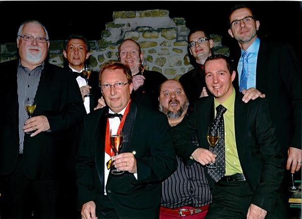 Au gala de la Gide des Sommeliers de Belgique, avec Jean-Paul Vansnick, Gérard Devos, Stéphane Chermanne et Geoffrey Monturier